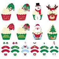 48 Pcs Christmas Cake Decoration,Christmas Cupcake Toppers