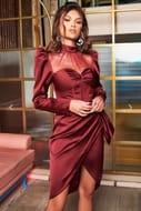Lavish Alice High Neck Satin Corset Midi Dress in Burgundy