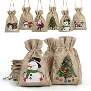 CHEAP! 12 Christmas Jute Burlap Gift Bags Pouches with Drawstring - 2 Designs