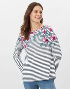 Joules Womens Harbour Print Long Sleeve Jersey Top - Stripe Floral