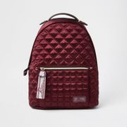 Red Satin Quilted Backpack