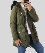 Warm Hooded Parka Hooded Coat in Khaki or Navy