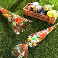 100 Pcs Easter Cone Treat Bags + 150 Ties