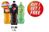 Buy 1 Get 1 Free Tango Orange, Pepsi Max, 7up Free 1.5L