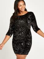 Black Sequin Bodycon Dress+