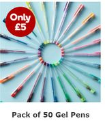 Assorted Gel Pens 50 Pack - Only £5!
