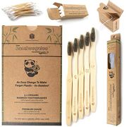 LIGHTNING DEAL Bamboo Toothbrushes 7 Pack with Bamboo Cotton Buds & Dental