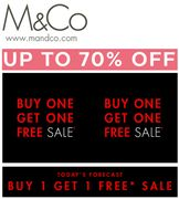 BE VERY QUICK! M&Co SALE - up to 70% off - plus BUY ONE GET ONE FREE!