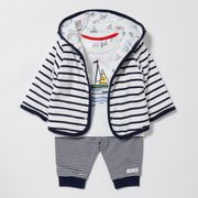 J by Jasper Conran - Baby Boys' Navy Striped Hoodie, Top and Bottoms Set
