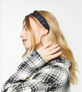 Black Satin Stretch Ruched Headband, Only £1.80!