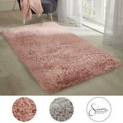 Sienna Large Shaggy Thick Rug Pink Or Grey - From £12 Delivered
