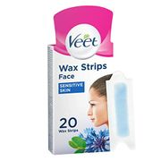 Veet Face Cold Wax Strips for Sensitive Skin, 10 Double Sided Strips, Pack of 20