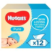 Huggies Pure Baby Wipes 12 X 56 per Pack - Only £7!