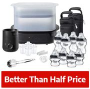 HALF PRICE! Tommee Tippee Steriliser, Warmer and 8x Bottles Complete Feeding Set