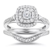 Perfect Fit 9ct White Gold 1/2ct Diamond Cushion Bridal Set