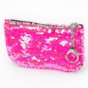 Reversible Sequin Holographic Zip Coin Purse - Pink