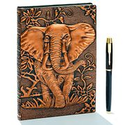 3D Elephant Embossed Leather Writing Journal Notebook with Gold Pen Set,A5