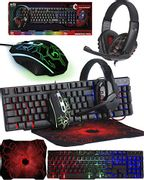 Gaming Keyboard and Mouse and Mouse Pad and Gaming Headset Bundle
