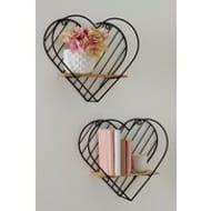 Set of 2 Heart Wall Shelves