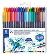 STAEDTLER Double Ended Watercolour Brush Pens, Assorted Colour, Pack of 36