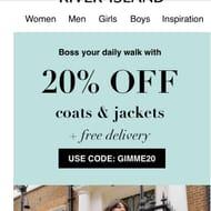 20% off Coats and Jackets at River Island
