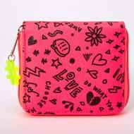 Neon Graffiti Mini Zip Wallet - Pink