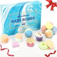 AKIMO 12 Pack Large Bath Bombs Set, Natural Bath Bomb Kit