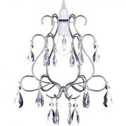 Crystal Droplet Effect Easy to Fit Ceiling Shade - Chrome