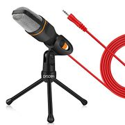 PC Microphone, 3.5mm Jack Condenser Recording Microphone with Mic Stand for PC