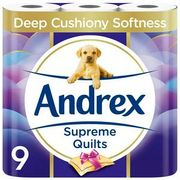 Andrex Supreme Quilts Toilet Tissue 9 Rolls