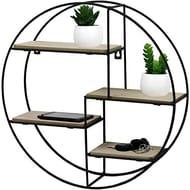 Black Metal Wall Mounted Multi Shelf Storage Organiser Unit Display Rack - Round