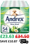 54 Andrex Skin Kind Toilet Rolls, with Aloe Vera Extract