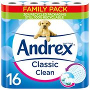 CHEAP! Andrex Classic Clean Toilet Roll Tissue - 16 Toilet Rolls