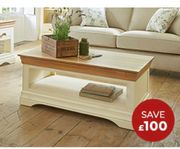 COUNTRY COTTAGE Natural Oak & Painted Coffee Table