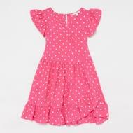 Bluezoo - Girls' Pink Polka Dot Mock Wrap Dress