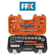 """Bahco BAHS330 Socket Set 34pc 1/4"""" 3/8"""" Drive Bits + Sparkplug Sockets 6 Point"""