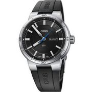 Oris Mens TT1 Automatic Day Date Black Rubber Strap Watch - Only £895!