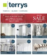 LAST CHANCE! Fabrics, Curtains, Blinds - up to 65% OFF - Terry's Fabrics Sale