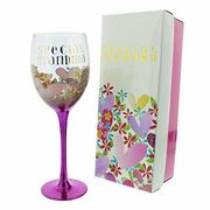 Wendy Jones Blackett SPECIAL GRANDMA Floral & Gold Wine Glass