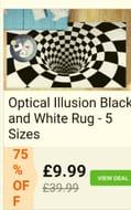 Optical Illusion Black and White Rug