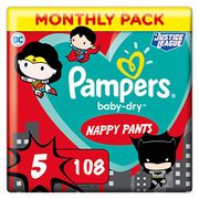 SAVE £15 - Pampers - Sizes 4 / 5 / 6 - Baby-Dry Superhero Nappy Pants, 108
