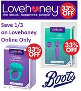 Save up to 1/3 on LOVEHONEY Vibrators, Eggs, Wands and Rabbits!