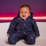Maine New England - Baby Boys' Navy Blue Shield Print Snowsuit