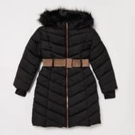 Lola & Maverick - Girls' Black Padded Longline Belted Coat