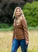 Abbeytown Hooded Leather Jacket in Cognac