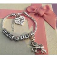 Personalised ANY NAME Childrens Girls Unicorn Charm Bracelet Gift Box