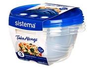 Sistema 54125 Takealongs 1.4L Medium Bowl 3 Pack Food Storage