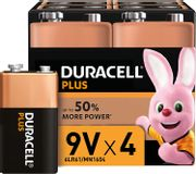 Duracell Plus 9V Alkaline Batteries for Smoke Alarms - PACK of 4