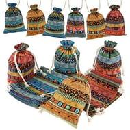 20Pcs Color Star Print Linen Burlap Bag with Drawstring
