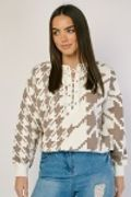Lace up Front Houndstooth Sweatshirt